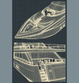 fragment drawings of a modern yacht vector image vector image
