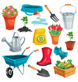 Garden Set With Sprout And Inventory vector image vector image