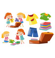 girls and set of clothes vector image