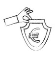 hand holding shield coin euro currency symbol vector image