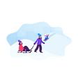 happy children wintertime activity little kids vector image vector image