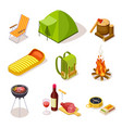 isometric camping summer picnic with fireplace vector image vector image