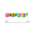 kids clothes on long rolling hanger rack vector image vector image