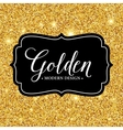 label frame silhouette on the gold glitter vector image vector image