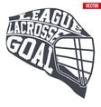 Lacrosse helmet with typography vector image vector image