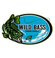 largemouth bass fishing tackle sign design vector image
