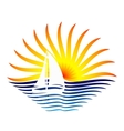 logo with the sailboat and sun vector image vector image