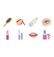 makeup and cosmetics icons in set collection for vector image