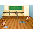 monkeys cleaning classroom vector image vector image