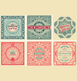 pack 6 old cards and labels vector image vector image