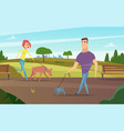 pets walking animals happy owners outdoor in park vector image