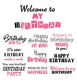 Pink happy birthday typography text isolated on vector image vector image