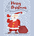 poster with a purple background santa with a bag vector image
