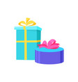 presents in festive paper round square gift vector image vector image