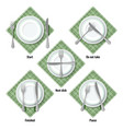 proper table etiquette instructions how to place vector image