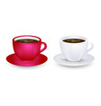 red and white coffe cup mockups on plate vector image vector image
