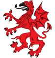 red griffin heraldry symbol vector image