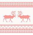 Red knitted pattern with deer vector image vector image