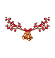 red xmas berries branch isolated border or vector image vector image