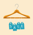 sale clothes hanger blue tag sale background vector image vector image
