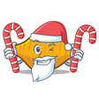 santa with candy conchiglie pasta mascot cartoon vector image