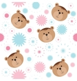 Seamless isolated pattern with bears and flowers vector image