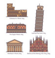 set isolated italian famous landmarks italy vector image
