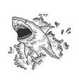 shark jumps out water sketch engraving vector image