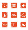 west europe icons set grunge style vector image vector image