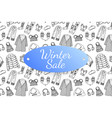 winter sale banner with hand drawn fashion clothes vector image vector image