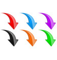 3d down colored arrows set vector image vector image