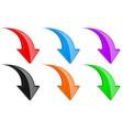 3d down colored arrows set vector image vector image