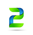 3d Number 2 two logo with speed green leaves vector image vector image
