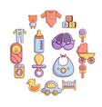 baby born icons set cartoon style vector image vector image