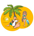 beach vacation young man and woman are drinking vector image