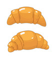 Beautiful cartoon two croissants white