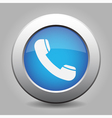blue metal button with telephone handset vector image