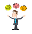 Business Man with Bulbs Isolated on White Ba vector image vector image