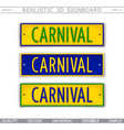 carnival car license plate stylized top view vector image vector image