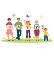 cartoon family members holding happy word letters vector image vector image