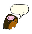 cartoon female head with brain symbol with speech vector image vector image