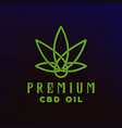 cbd cannabis marijuana hemp pot leaf with line art vector image vector image