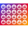 circus tent shape carved flat icons set vector image