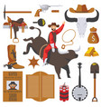 collection of wild west objects isolated on vector image