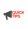 colorful quick tip badge with megaphone vector image vector image