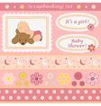 Digital scrapbooking set for baby girl vector image vector image