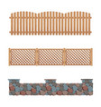 fences collection wooden stone and plastic fence vector image vector image