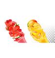 fruit in juice splashes strawberry raspberry vector image
