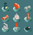 gym color isometric icons vector image vector image