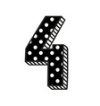 hand drawn number 4 with white polka dots on black vector image vector image